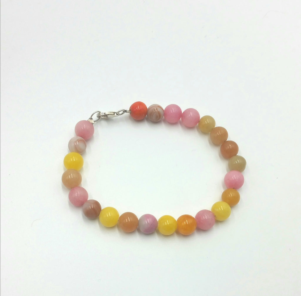 Pink, yellow, orange quartz, red malachite, jadeite bracelet