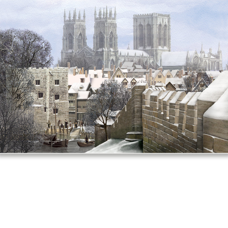 MEDIEVAL YORK - York Minster from the City Wall - Greetings Card
