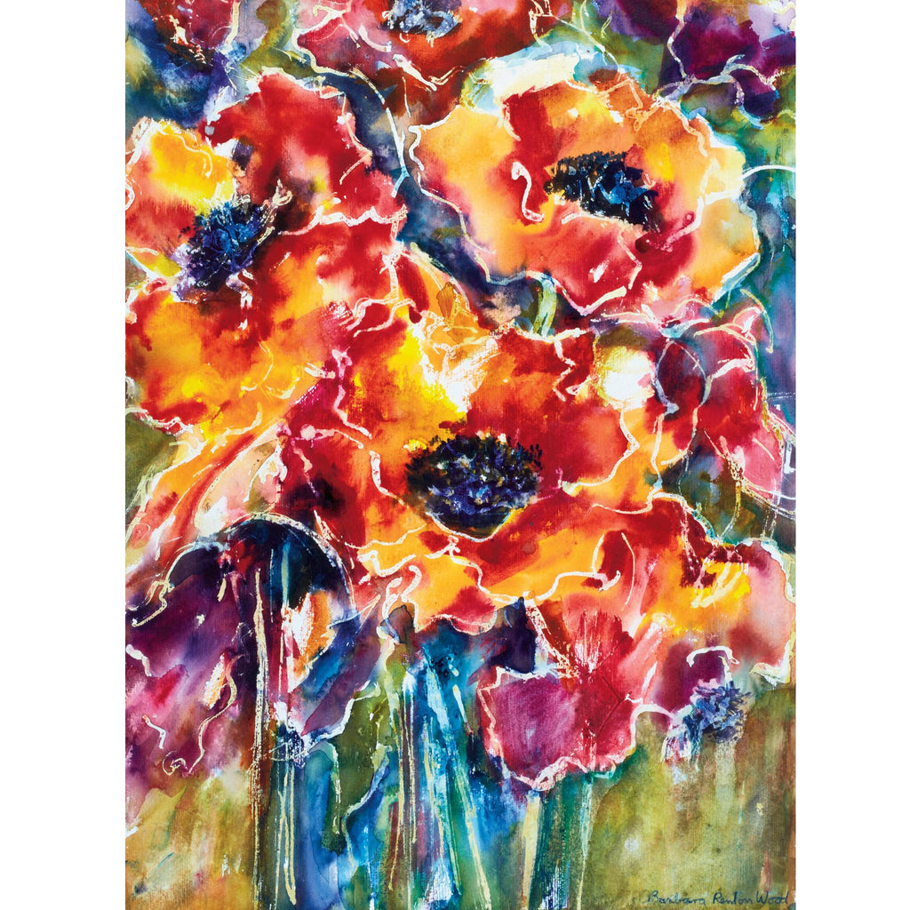 PRANCING VERMILLION POPPIES - Greetings Card