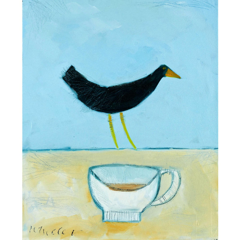 Blackbird with teacup