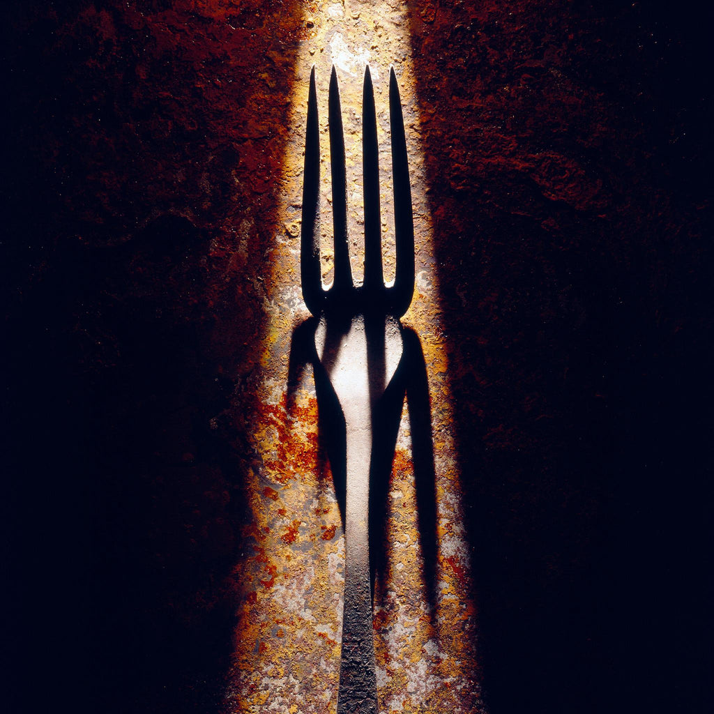 OLD FORK ON RUSTY IRON SHEET
