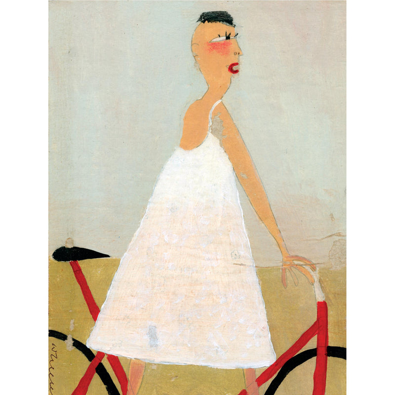 FIGURE IN WHITE - Girl on a Bicycle - Greetings Card