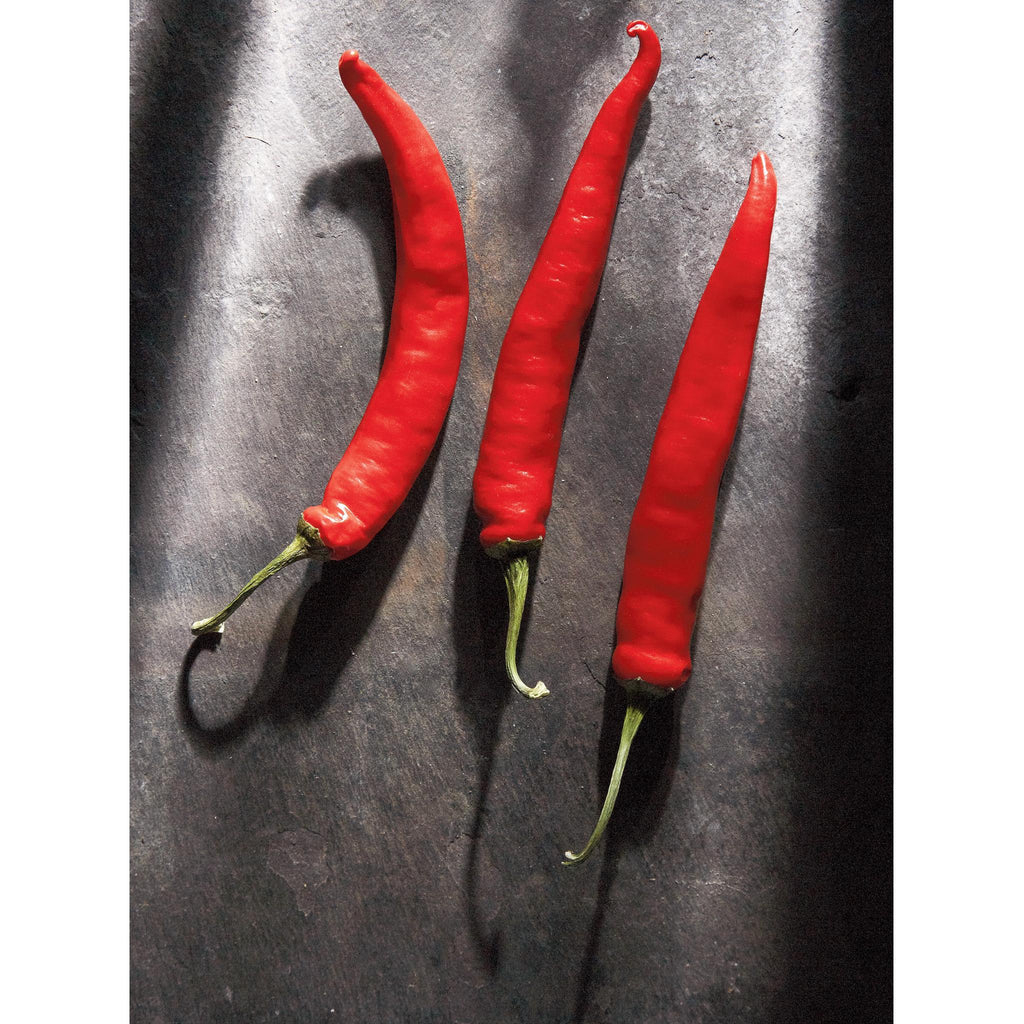 RED CHILLIS ON CUMBERLAND SLATE - Greetings Card