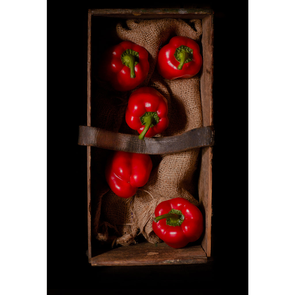 Red Peppers on Hessian in old weathered box