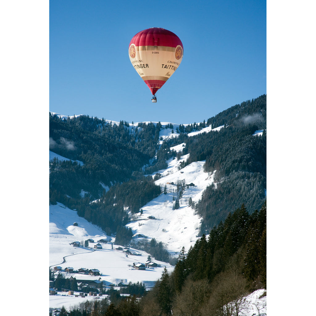 Taittinger Hot Air Balloon ascent in the Swiss Alps. Gstaadt, Switzerland