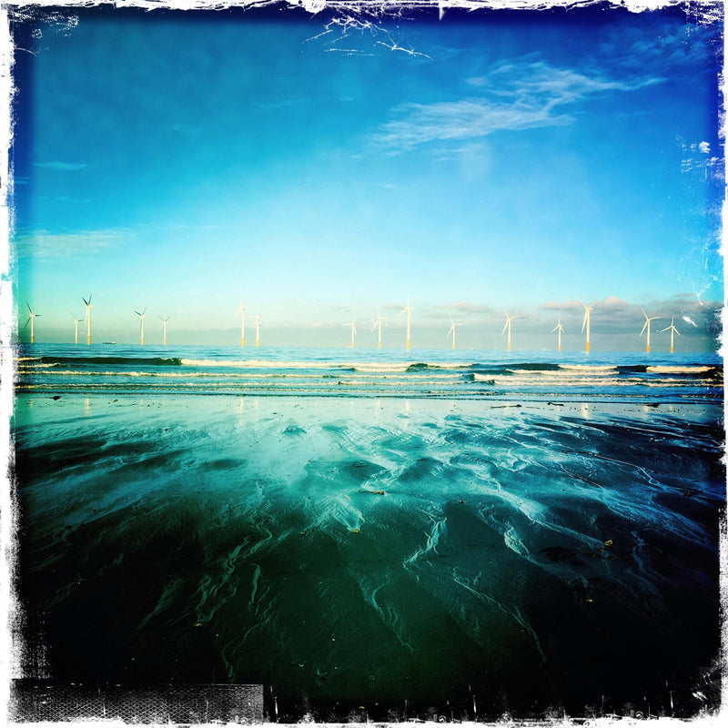 WINDFARM WITH CERULEAN BLUE SKY - REDCAR