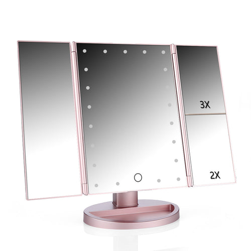 LED Touch Zoom Screen 3 Folding Adjustable Makeup Mirror
