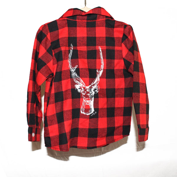 Deer Kid's Flannel Button Up Shirt