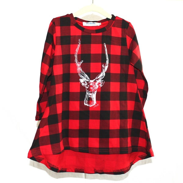 Deer Kid's High Low 90s Flannel Dress