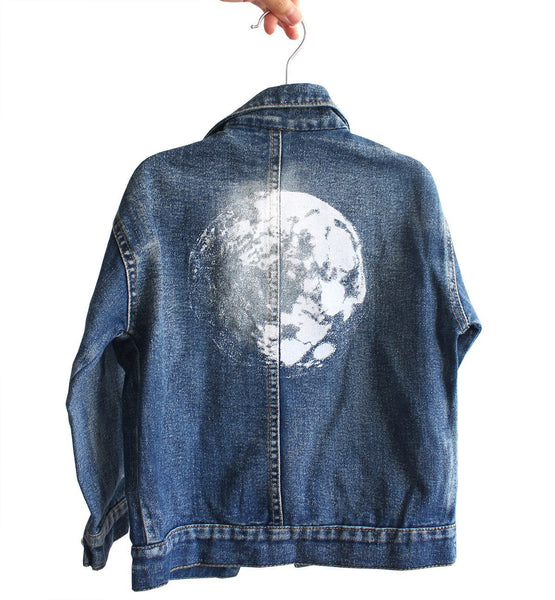 Kid's Distressed Denim Moon Jacket