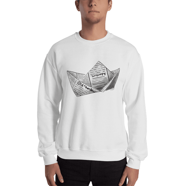 Newspaper Boat Crewneck Sweatshirt