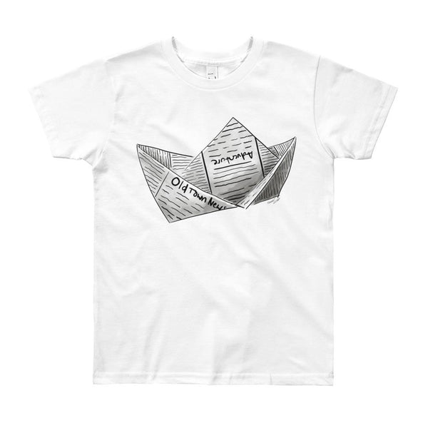 Newspaper Boat Youth Short Sleeve T-Shirt 8yrs-12yrs