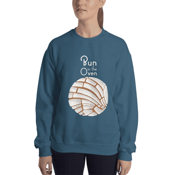 Concha Bun in the Oven Crewneck Sweatshirt - Pan Dulce Pregnancy Reveal Sweater