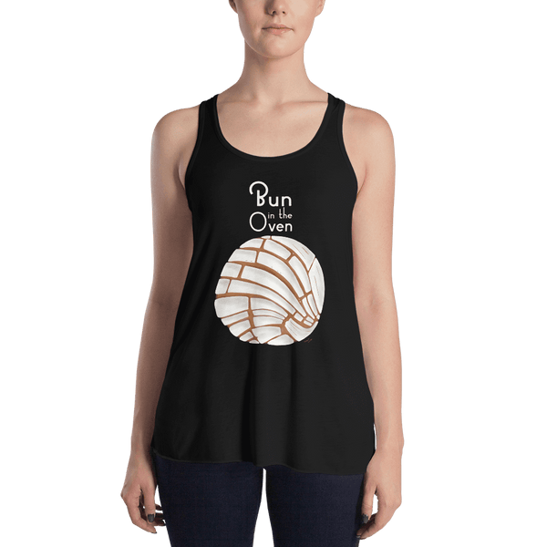 Concha Bun in the Oven Women's Flowy Racerback Tank - Pan Dulce Pregnancy Reveal Shirt