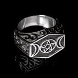 Triple Moon Pentagram Ring - Ring - Big Joes Biker Rings