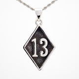 Number 13 Bad Luck Diamond Face Large Stainless Steel Pendant - Pendant - Big Joes Biker Rings