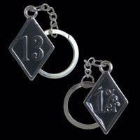 1%er / Number 13 Nickel Plate Keychain Pair - Key Chain - Big Joes Biker Rings