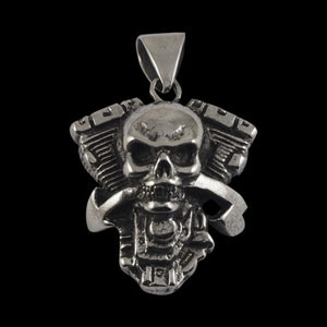 V-Twin Engine with Skull Pendant - Pendant - Big Joes Biker Rings