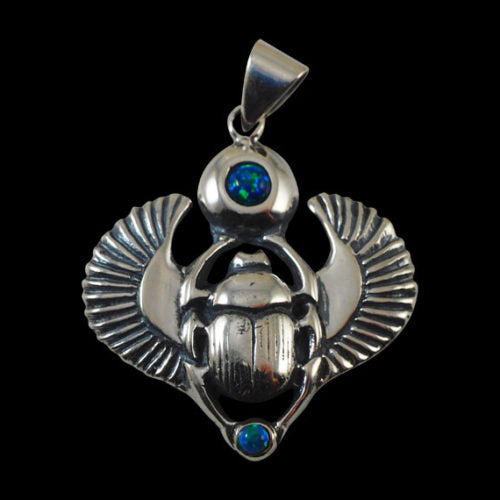 Ancient Egyptian Scarab Beetle Khepera Pendant - Pendant - Big Joes Biker Rings
