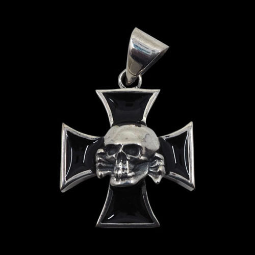 Death Head Skull Iron Cross Pendant - Pendant - Big Joes Biker Rings