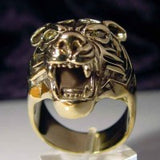 Tiger Ring with Marquise Eyes - Ring - Big Joes Biker Rings