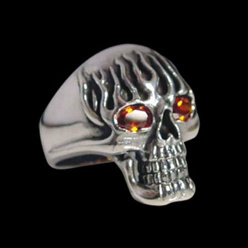 Flaming Death Skull Bronze Ring - Ring - Big Joes Biker Rings