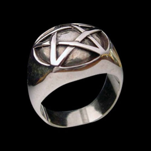 Domed Pentagram Ring - Ring - Big Joes Biker Rings