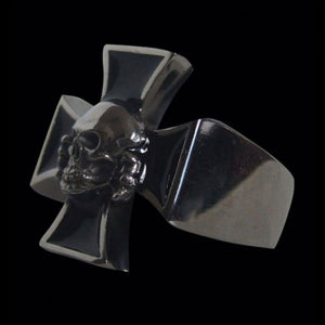 Iron Cross with Death Head Skull Ring - Ring - Big Joes Biker Rings