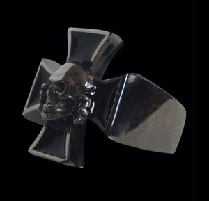 Death Head Skull on Iron Cross Sterling Silver Ring - Ring - Big Joes Biker Rings
