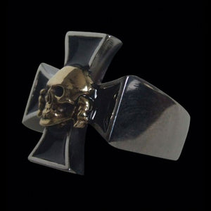Death Head Skull on Iron Cross Bi Metallic Stainless Steel Ring - Ring - Big Joes Biker Rings