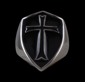 Crusader Cross Knights Templar  Ring (Black) - Ring - Big Joes Biker Rings
