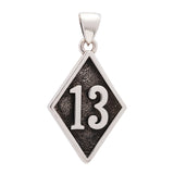 Number 13 Bad Luck Diamond Face Large Stainless Steel Pendant