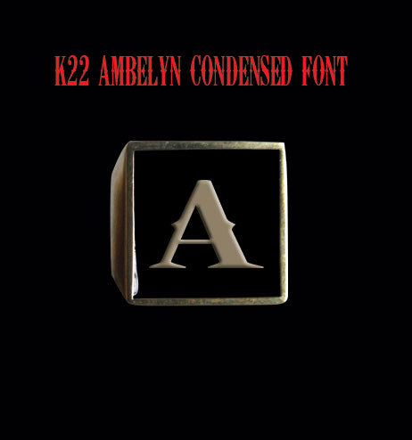 Square K22 Ambelyn Font 1-Letter Bronze Rings - Ring - Big Joes Biker Rings