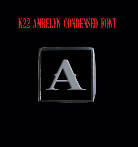 Square 19mm K22 Ambelyn Font Letter A Stainless Steel Ring - Clearance - Big Joes Biker Rings