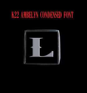Square 19mm K22 Ambelyn Font Letter L Stainless Steel Ring - Clearance - Big Joes Biker Rings