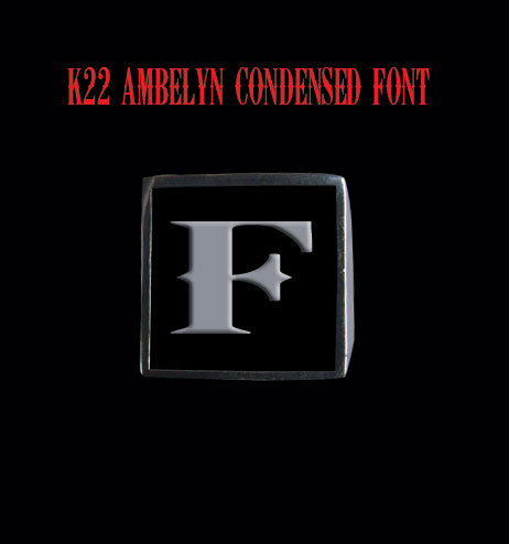 Square 19mm K22 Ambelyn Font Letter F Stainless Steel Ring - Clearance - Big Joes Biker Rings