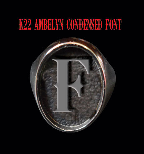 Oval K22 Ambelyn Font 1-Letter Sterling Silver Rings - Ring - Big Joes Biker Rings