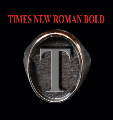Oval Times New Roman Font 1-Letter Bronze Rings - Ring - Big Joes Biker Rings