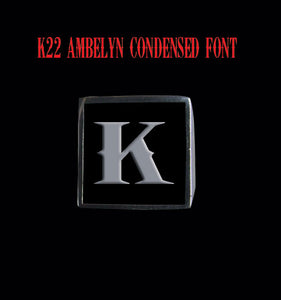 Square 19mm K22 Ambelyn Font Letter K Stainless Steel Ring - Clearance - Big Joes Biker Rings