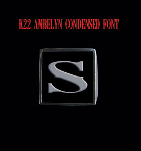 Square 19mm K22 Ambelyn Font Letter S Stainless Steel Ring - Clearance - Big Joes Biker Rings