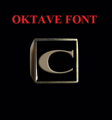 Square Oktave Font 1-Letter Bronze Rings - Ring - Big Joes Biker Rings