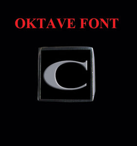 Square Oktave Font 1-Letter Stainless Steel Rings - Ring - Big Joes Biker Rings