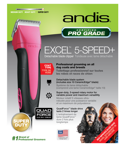 Andis Excel 5-Speed+ Detachable Blade Clipper Pink