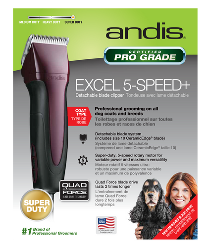 Andis Excel 5-Speed+ Detachable Blade Clipper Burgundy