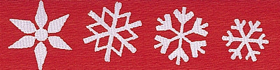 White Snowflakes on Red Ribbon