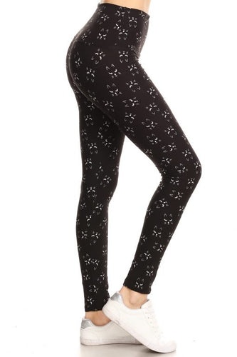All Over Cat Faces Leggings One Size