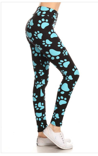 Blue Paw Print Leggings Plus Size