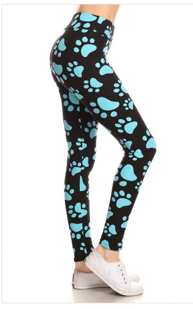 Blue Paw Print Leggings One Size