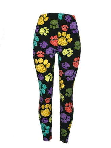 Colorful Paw Print Leggings Plus Size
