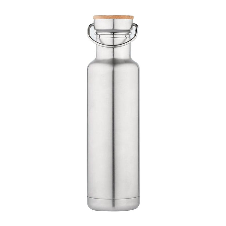 Vacuum bottle w/ bamboo screw cap- 20oz